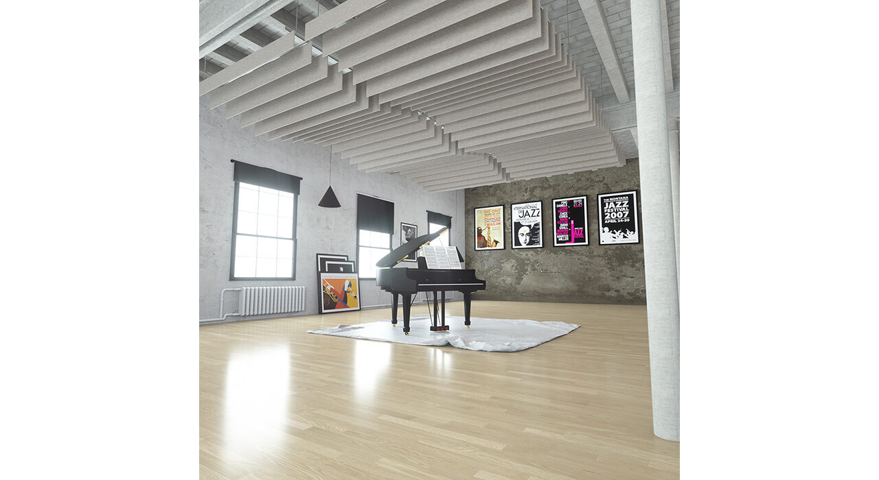 beige sound-absorbing baffles suspended over open room with a piano