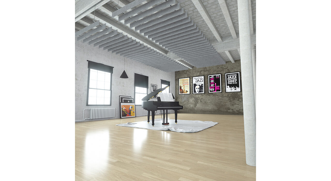 light grey sound-absorbing baffles suspended over open room with a piano