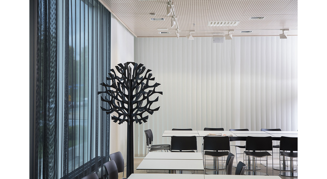 sound absorbing black tree in office
