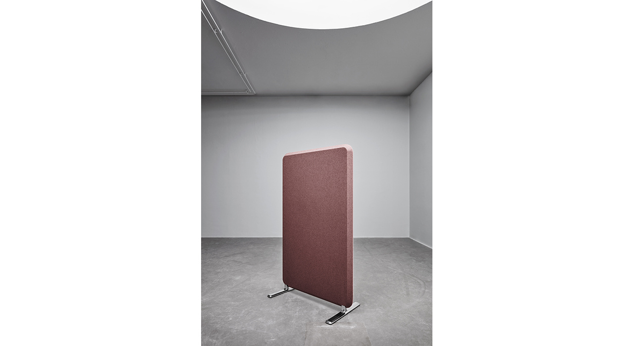 samon colored floor screen in empty room with light above