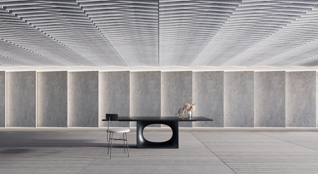 ceiling tile sculpt taper in large room with table and chair in center