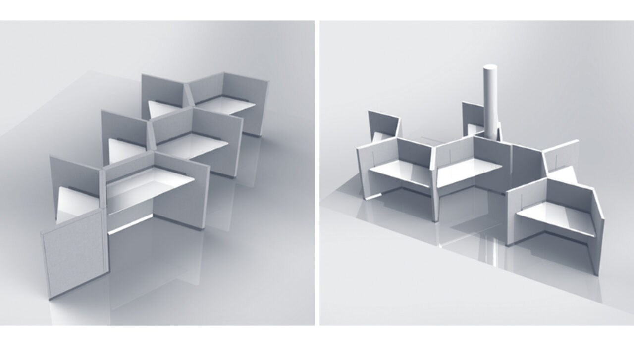 two different black and white arrangement setups for a desk screen