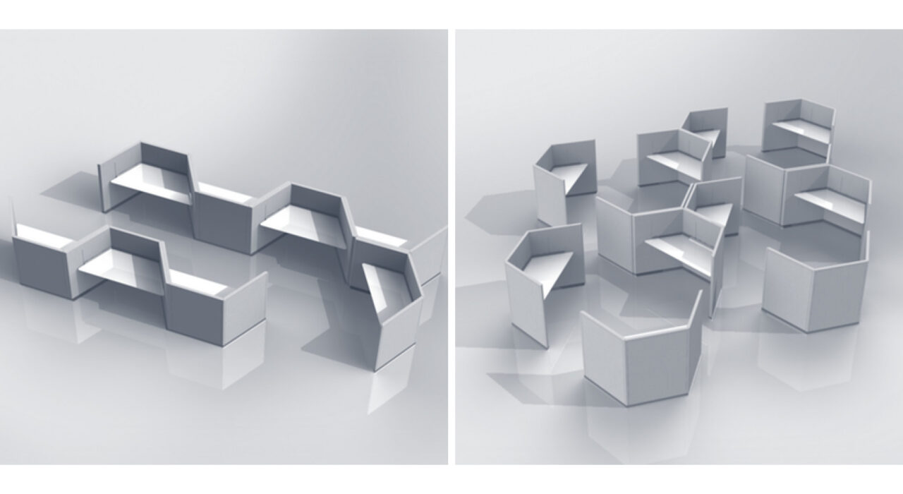 two black and white renderings of a desk screen setup arrangement