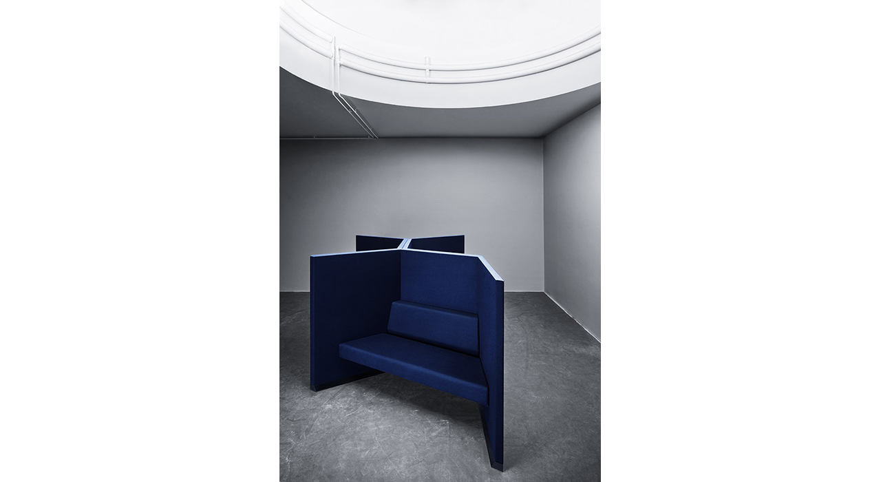 blue acoustic workstation with sofa