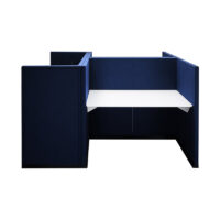 blue acoustic partition for desk