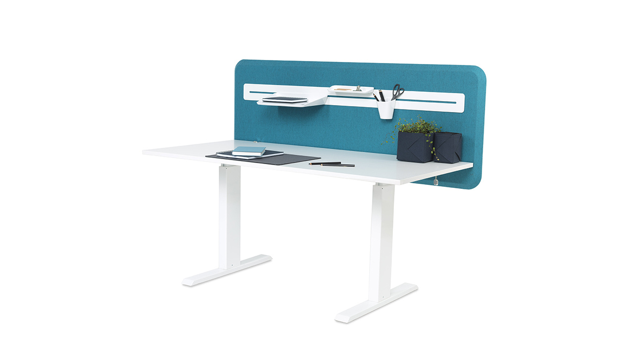 turquoise table screen on desk with shelf and accessories