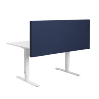 dark blue acoustic table screen on white desk with white background