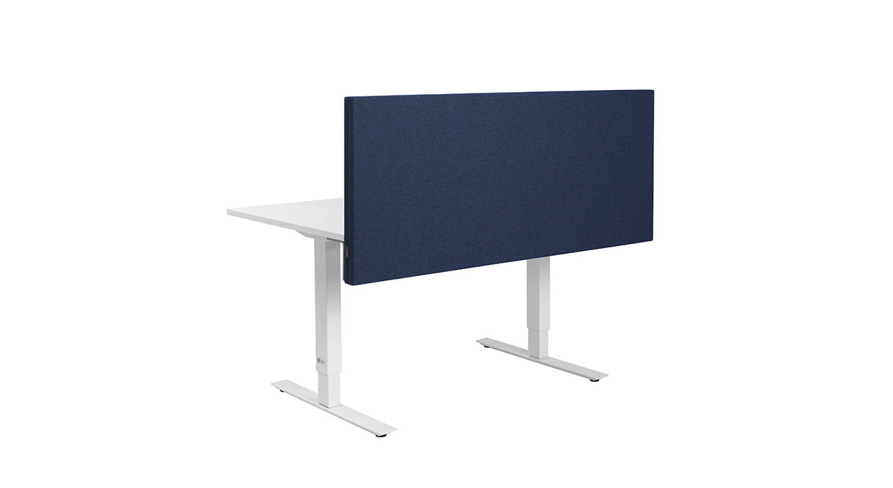 dark blue acoustic screen on white table with empty background