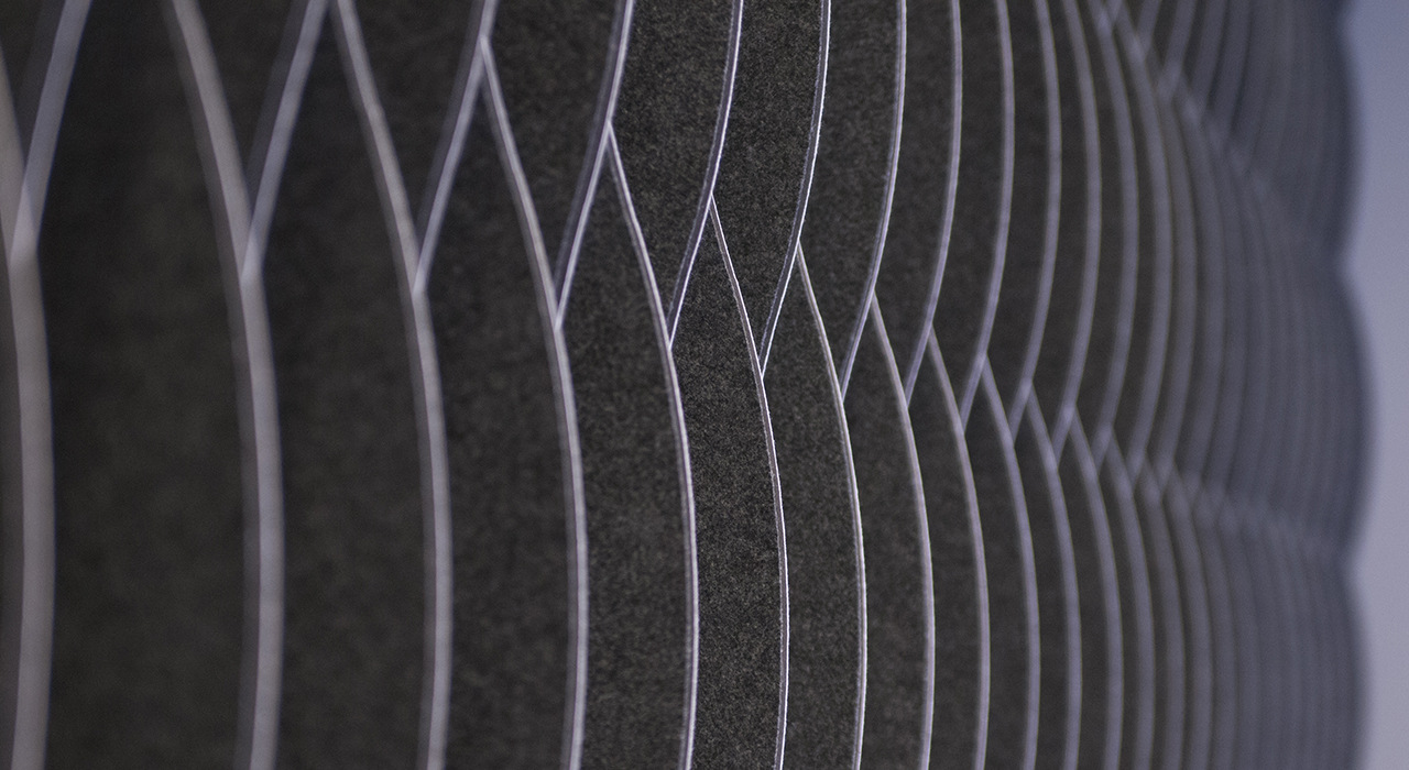 charcoal colored waterfall panel installation detail