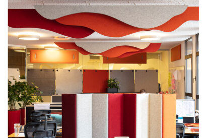 mixmcx felt divider with felt baffles in office