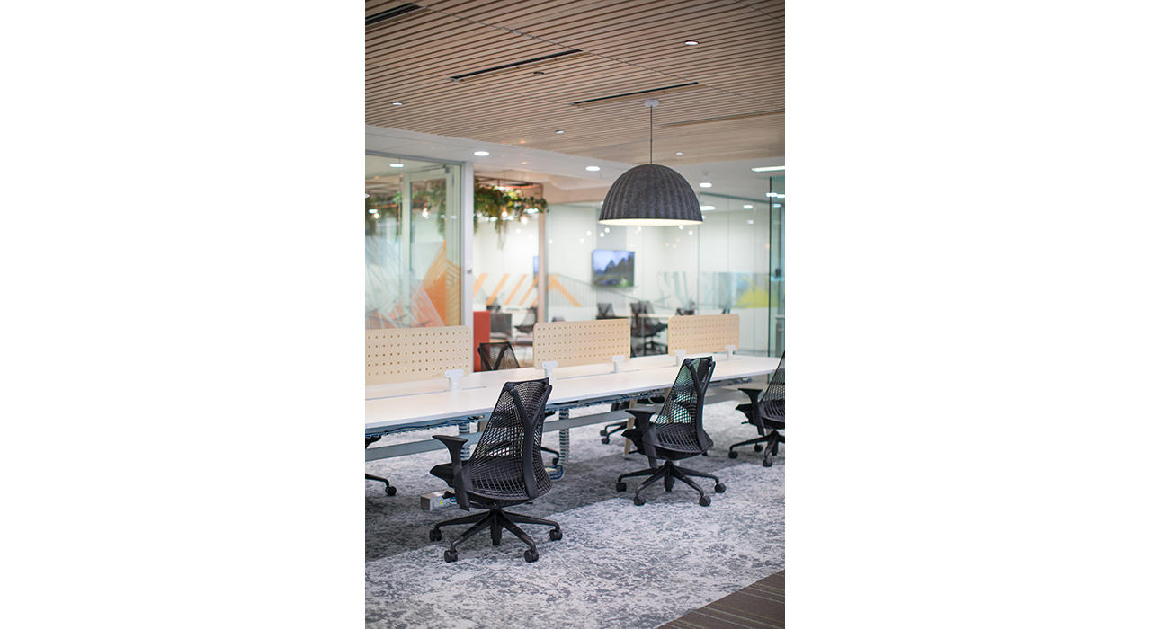 wooden ceiling tiles light hanging whitewash hemlock anove conference table office