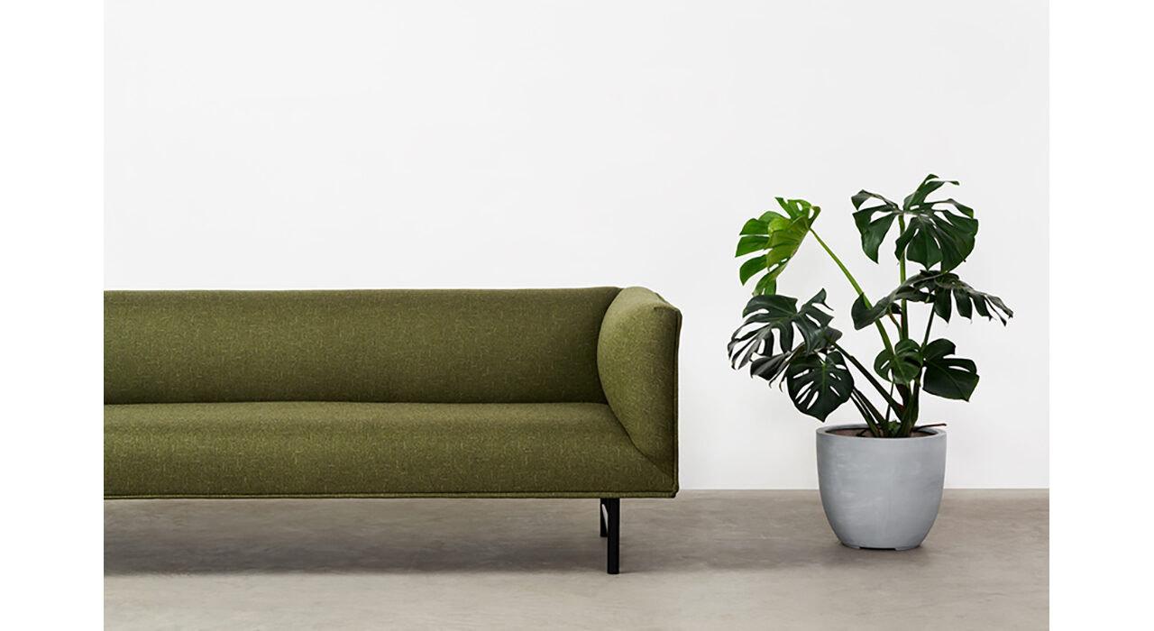 esprit textile on sofa with potted plant