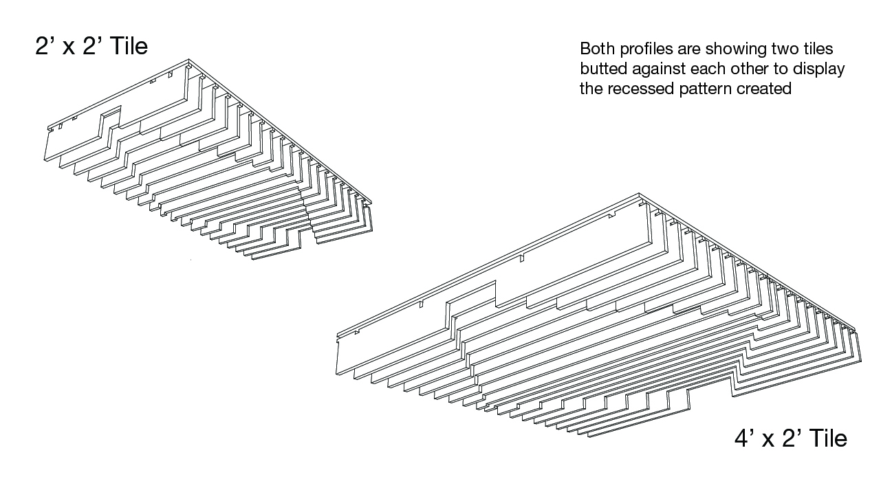 line drawing of acoustic drop ceiling tiles