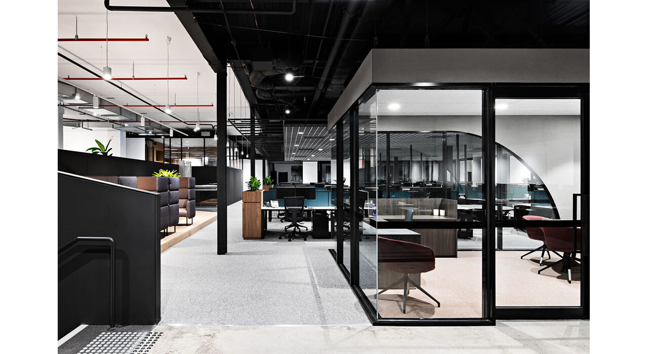 sound-absorbing drop ceiling tiles above large open office