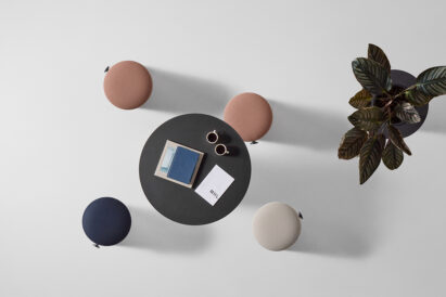sound absorbing stool and table seen from above