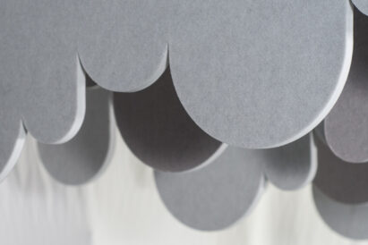 light grey sound absorbing panels custom cut bubble shapes