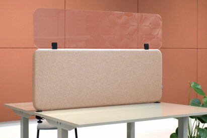 sound absorbing rectangular desk screen fitted with transparent acrylic top