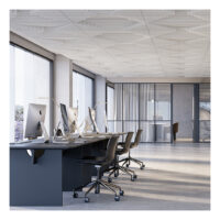 off white acoustic ceiling tiles above desks in office