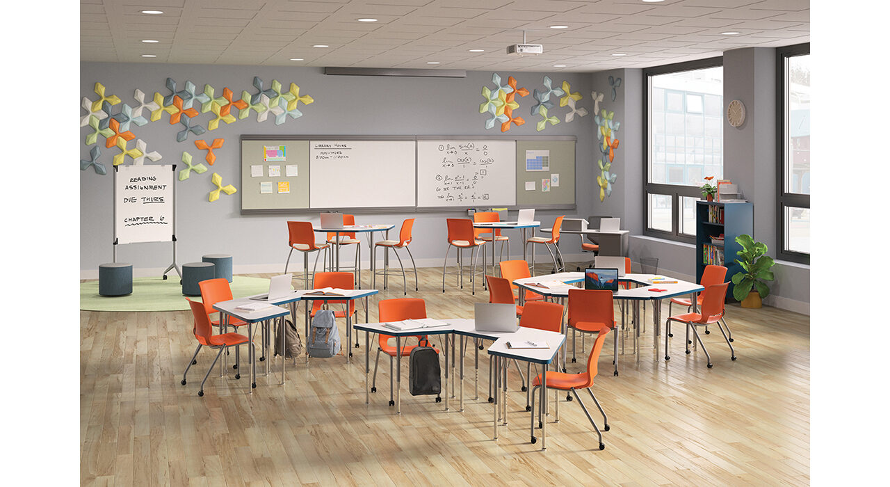 colorful acoustic tiles on classroom wall