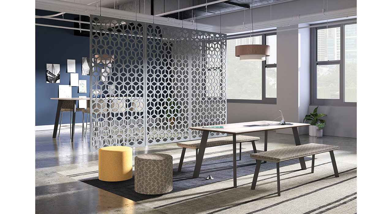grey sound-absorbing suspended screen with pinwheel pattern in office