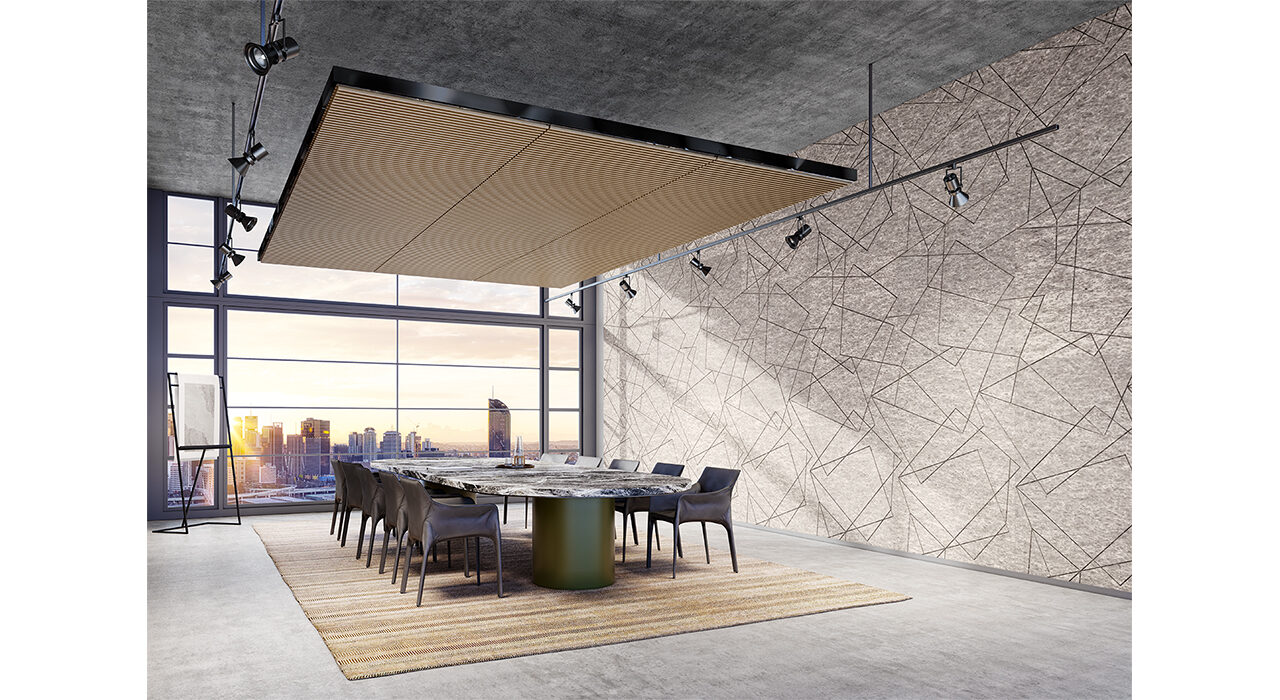 designer acoustic panels on wall in studio office overlooking city