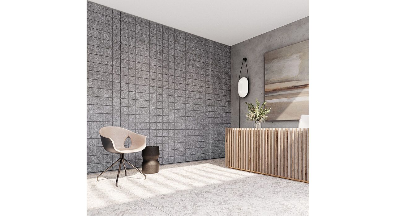 dark grey designer acoustic panels in waiting room