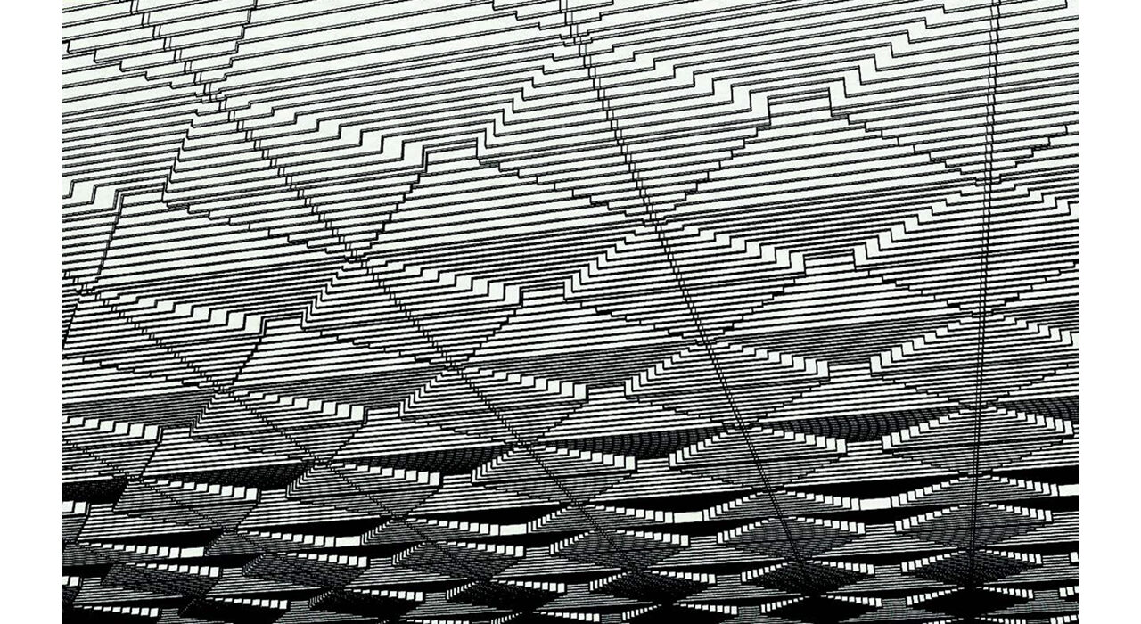 black and white line drawing of drop ceiling tile
