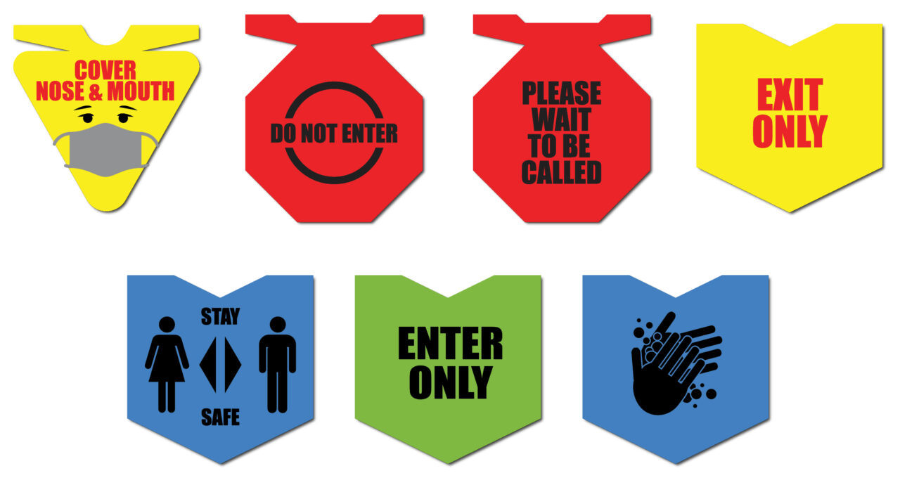 multi-colored acoustic signs for safe work place