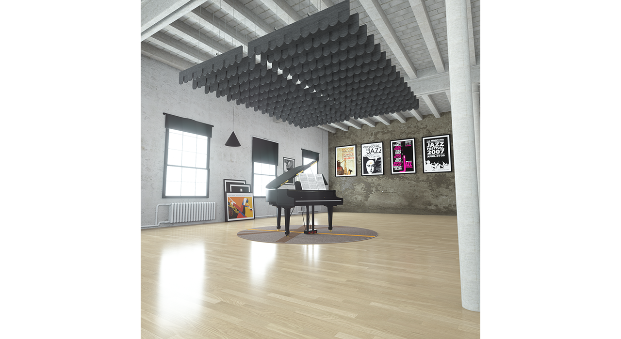 dark grey baffles suspended from ceiling above piano in studio