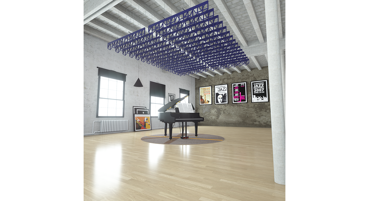 open blue baffles suspended from ceiling above piano in studio