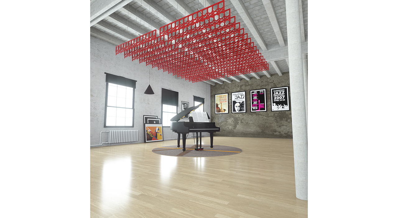 open red baffles suspended from ceiling above piano in studio
