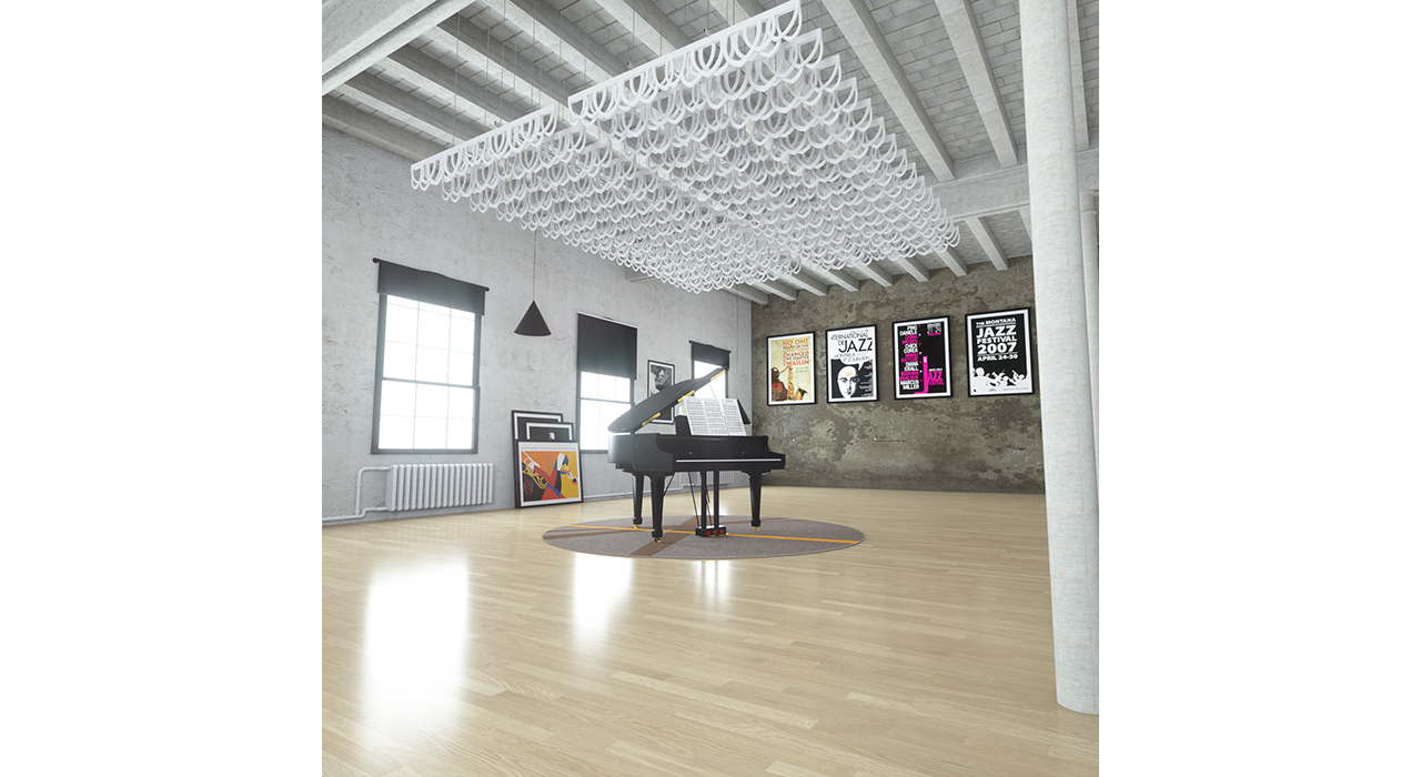 white baffles suspended from ceiling above piano in studio