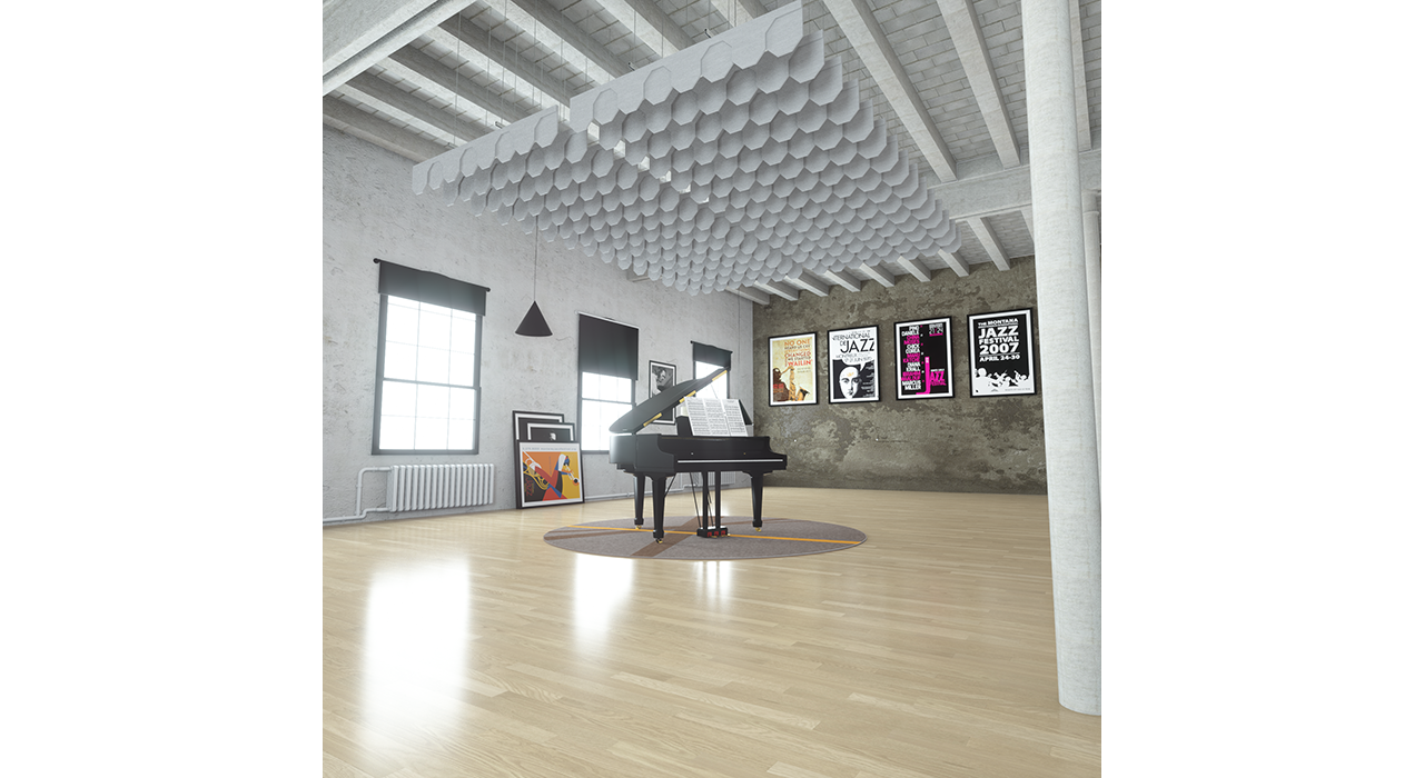 grey baffles suspended from ceiling above piano in studio