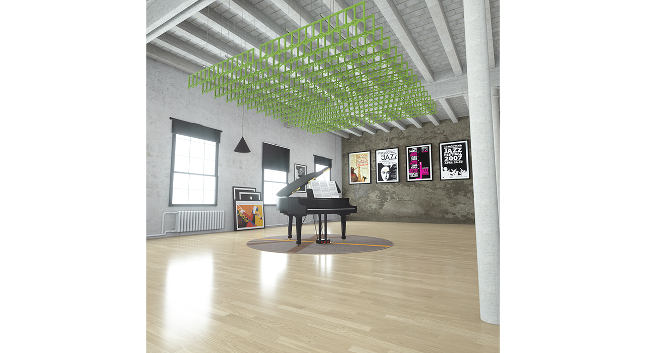 open green baffles suspended from ceiling above piano in studio