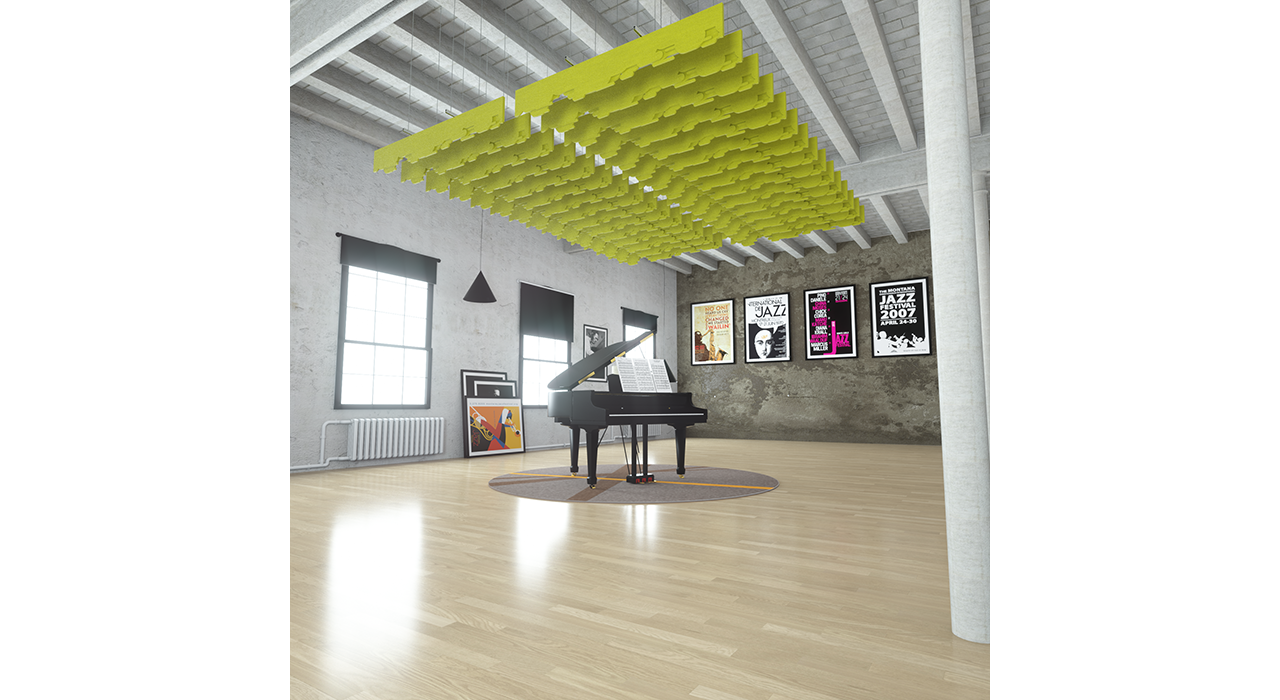 yellow baffles suspended from ceiling above piano in studio