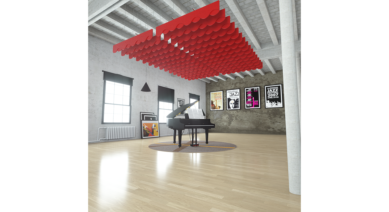 red baffles suspended from ceiling above piano in studio