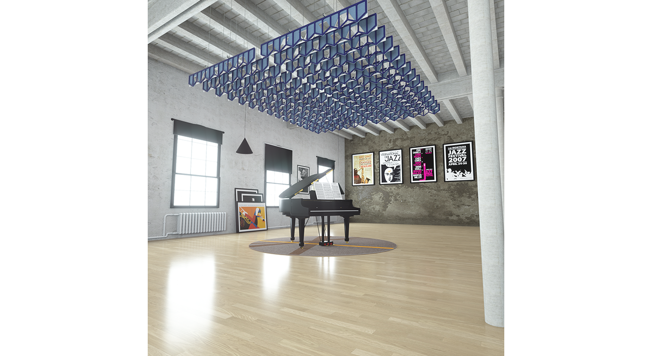 sound-absorbing light and dark blue baffles above a piano in studio