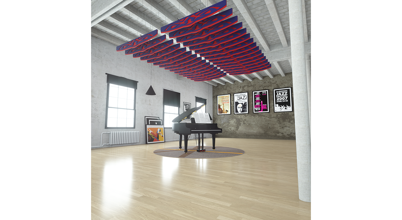 sound-absorbing blue and red baffles above a piano in studio