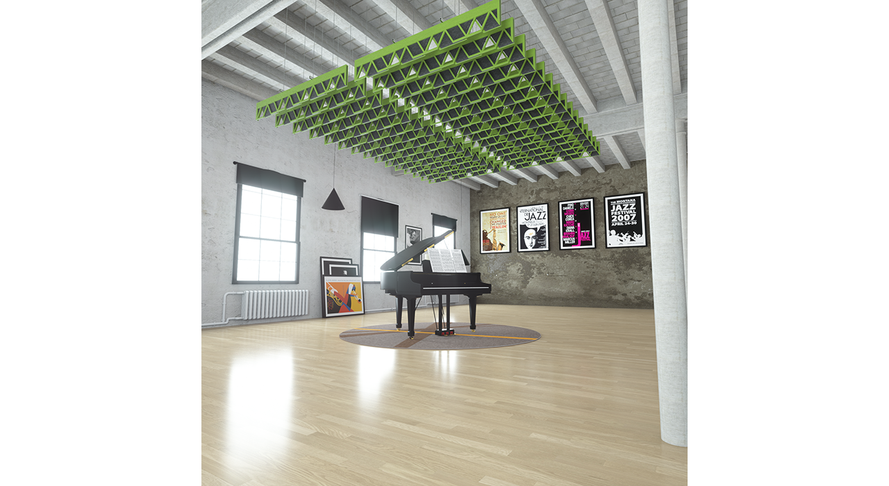 sound-absorbing green baffles above a piano in studio