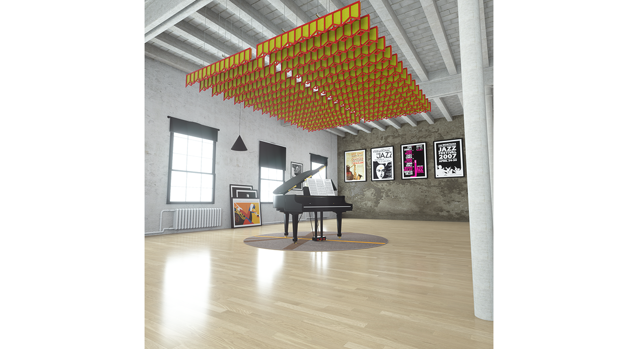 yellow and red sound-absorbing baffles above a piano in studio