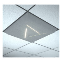 grey ceiling tile with three lights in grid