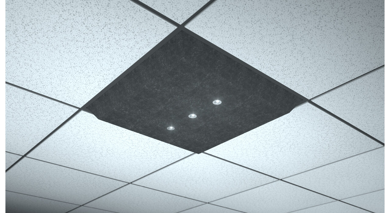 dark grey lighted ceiling tile spot focus triple horizontal