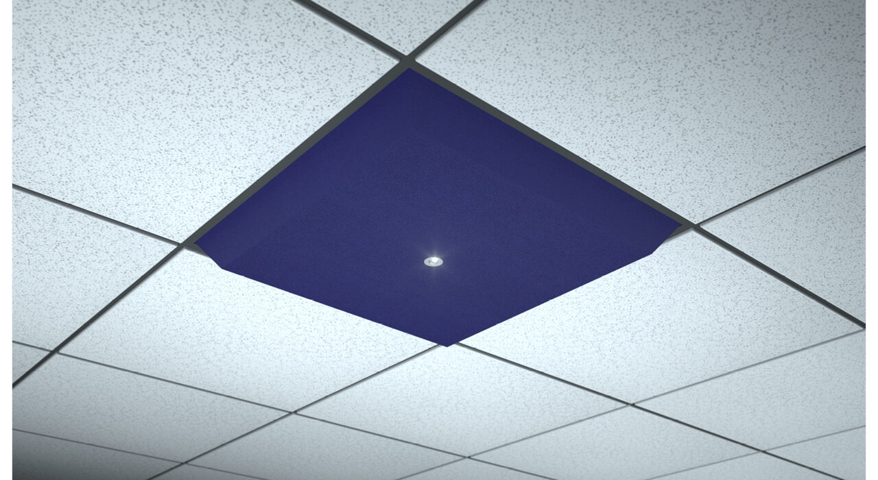 dark blue lighted ceiling tile spot focus single