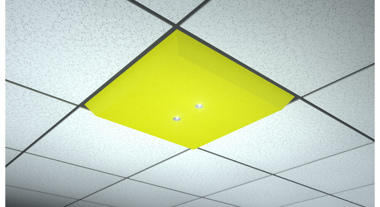 yellow lighted ceiling tile spot focus dual
