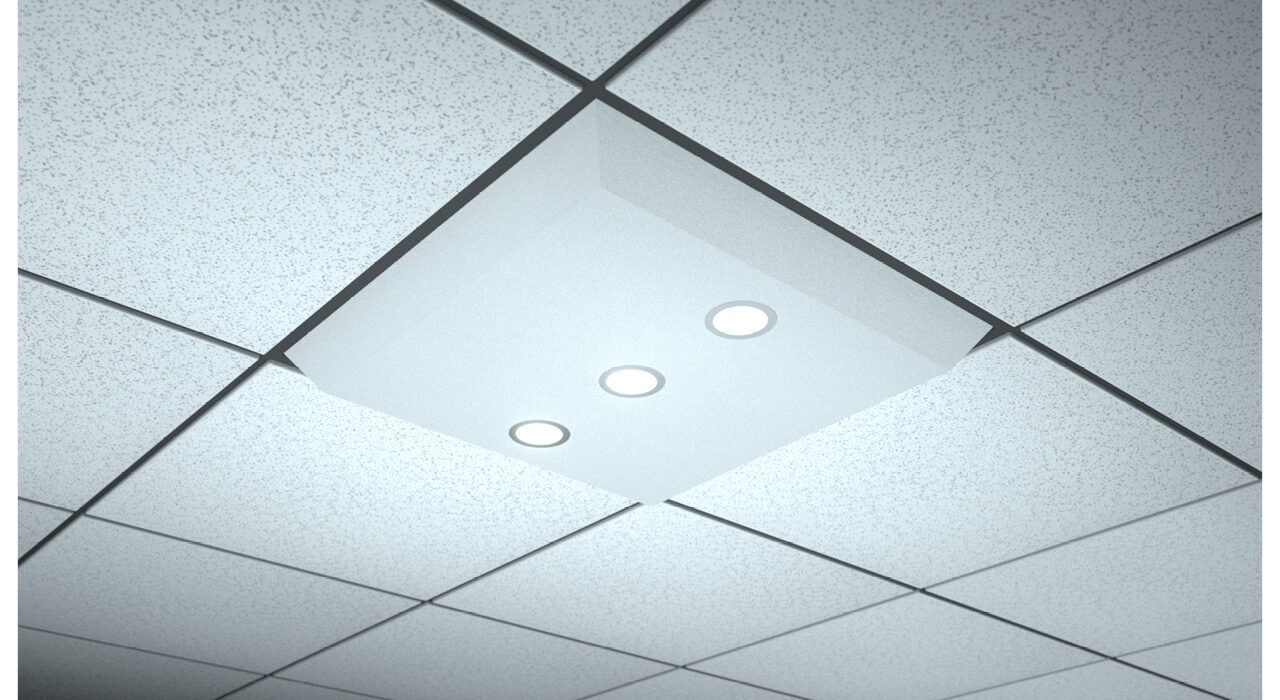 white lighted ceiling tile spot flood triple