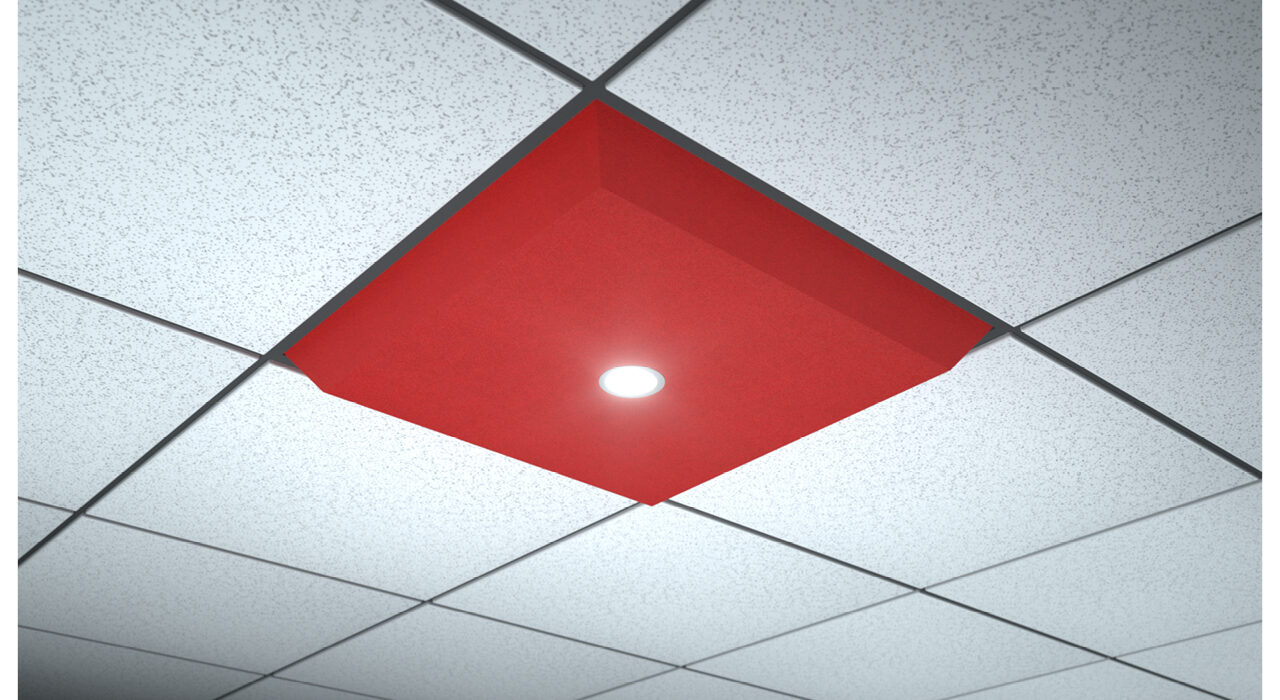 red lighted ceiling tile spot flood single