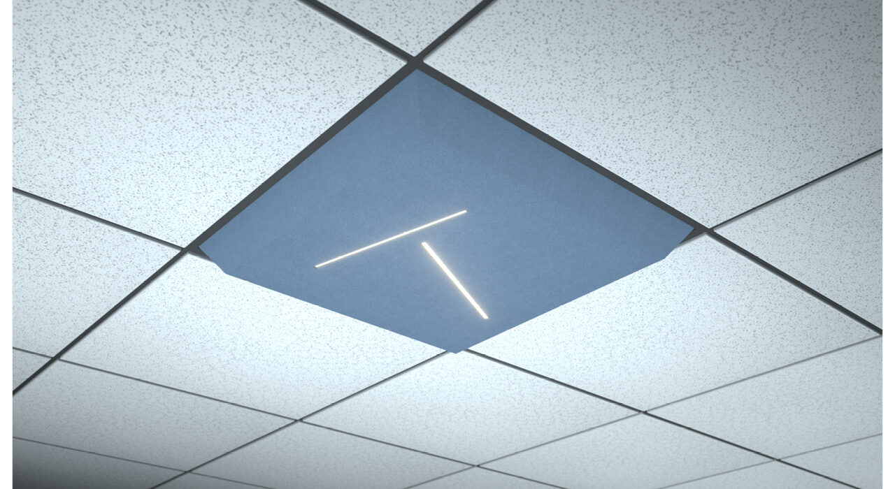 light blue lighted ceiling tile lineal random dual