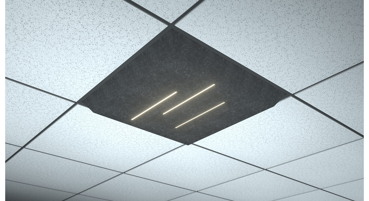 dark grey lighted tile lineal lines triple