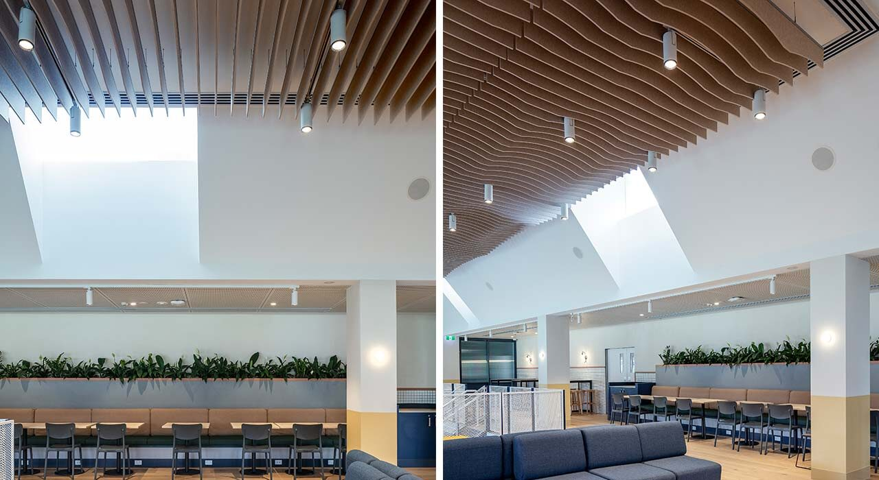 sound absorbing custom baffle almond 12mm on ceiling of knox grammar school seating area sofas