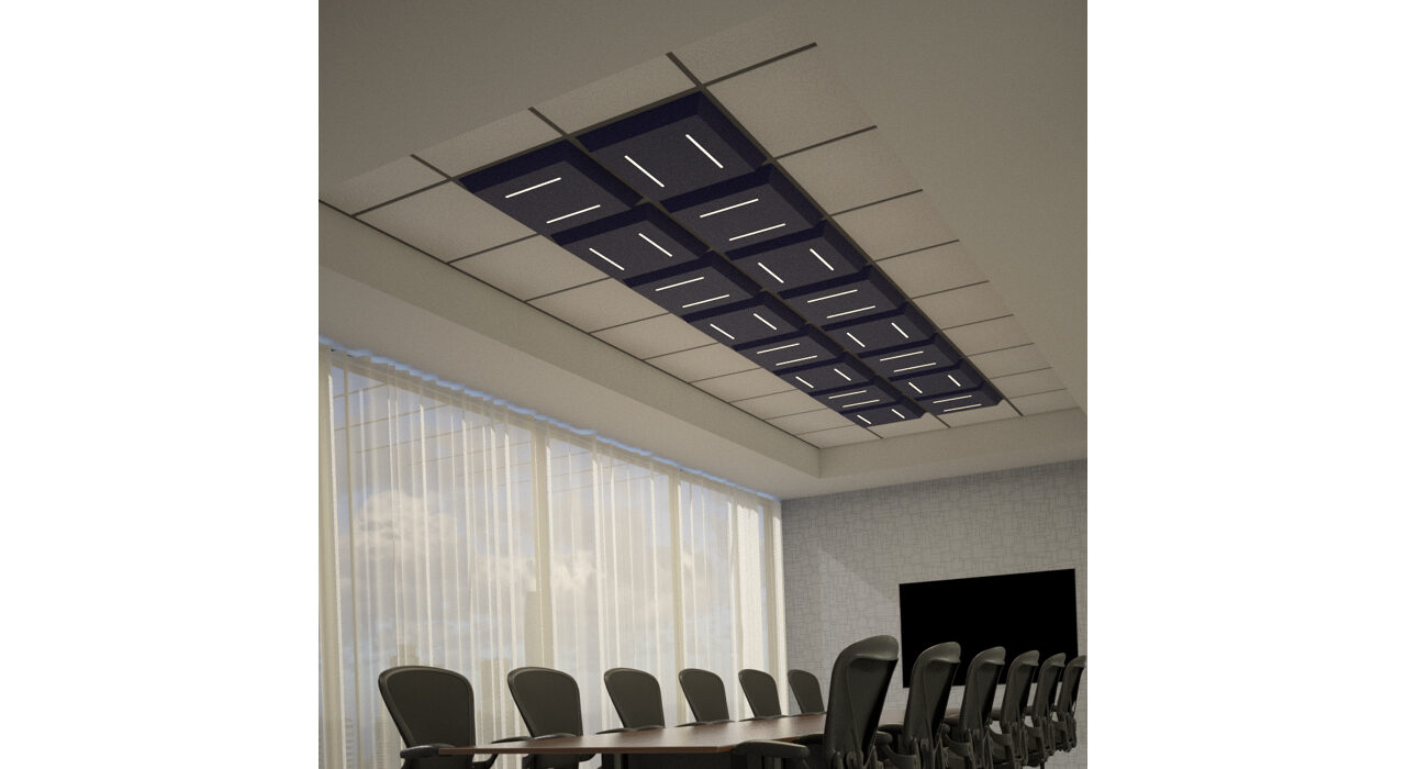 dark blue lighted tiles above conference room table